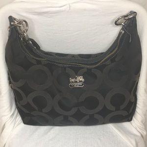 Coach Madison Op Art Hailey Black Hobo Bag